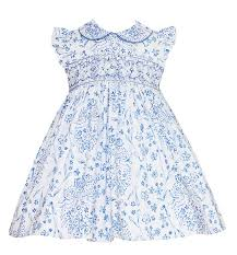 Anavini Infant Toddler Girls French Blue Toile Smocked