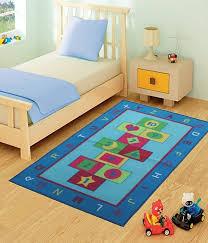 kids childrens blue hopscotch rug rugs mat in modern design for play
