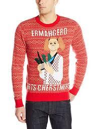 Alex Stevens Men\u0027s Ermahgerd Ugly Christmas Sweater, Red, Medium Sweater Red