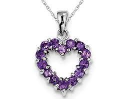 purple amethyst heart pendant necklace in sterling silver 4 5 carat ctw 0