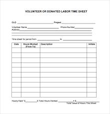 volunteer template sample volunteer timesheet 9 example format