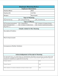 How To Write Up A Written Warning For An Employee Written Warning Sample Employee Notice Form Willconway Co