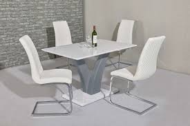 white grey high gloss dining table and 4 white chairs