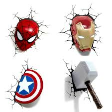 Marvel Avengers 3d Wall Lights Us 48 43 20 Off Marvel Avengers 3d Wall Lights Spiderman Iron Man Hulk America Captain Wall Stickers For Kids Rooms Bedroom Led Night Light In Led