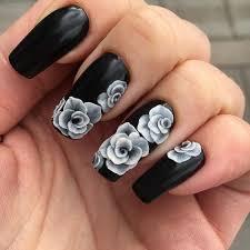 3d black long nail designs