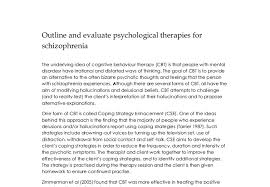 outline and evaluate psychological therapies for schizophrenia a document image preview