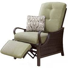 brown fabric upholstered outdoor chair with adjule footrest