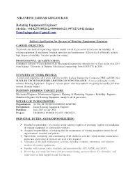 Maintenance Engineer Resume Sample Mechanical Maintenance Engineer