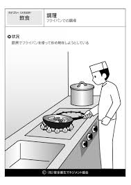 調理 フライパンでの調理飲食危険予知訓練kyt無料イラストシート