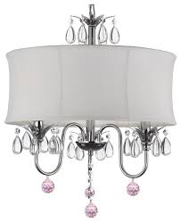 crystal chandelier with large white shade and pink crystal