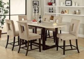 high dining table sets. espresso finish white faux marble top counter height dining high table sets t