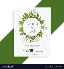 Green Leaves Wedding Invitation Card Design