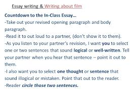 essay writing writing about film part the return brought to 12 essay