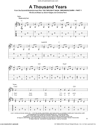 A Thousand Years Sheet Music Perri A Thousand Years Sheet Music For Guitar Solo Pdf