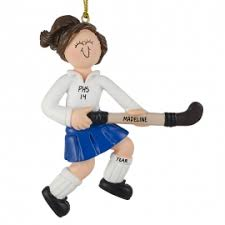 Personalized Field Hockey Player Ornament BRUNETTE