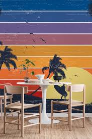 retro surfer sunset wall mural from