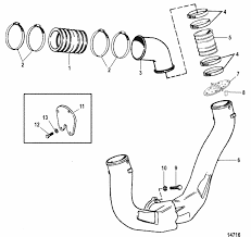 mercruiser 5 7l efi gm 350 v 8 1998 exhaust system parts engine section