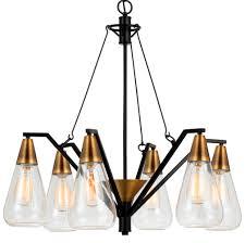 antique brass black chandelier glass shades