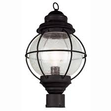 bel air lighting lighthouse 1 light outdoor black post top lantern with seeded glass