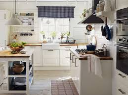 white country kitchen with butcher block. Enchanting Simple Country Kitchen Ideas Of Blue And White Checkered Curtains Alongside Metal Pendant Light Shades With Butcher Block