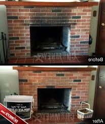 brick smoke stains on a fireplace before and after being cleaned with paint cleaning