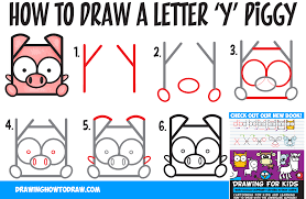 how to draw a cute kawaii cartoon pig from letter y shapes easy step by step drawing tutorial for kids
