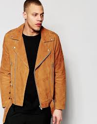 asos brand belted suede biker jacket in tan