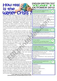 2page Test 11 Grade Water Crisis Key Included Esl Worksheet By