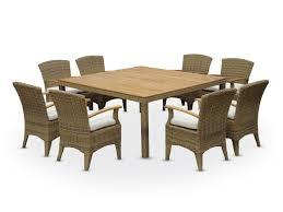 eden 8 square raw natural teak outdoor table 9 piece dining set half round