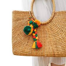 Pom Pom Purse Designer Qtmy Pom Pom Braided Tassel Bag Charm Pendant Boho Keyring