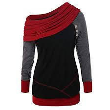 Ularma Fashion Women Bow Neck Long Sleeve Patchword Button