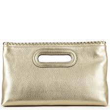 rosalie large gold leather clutch bag