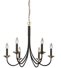artcraft ac1786vb wrought iron 6 light 25 inch semi gloss black and vintage brass chandelier ceiling light