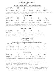 Sizing Charts Daub Design