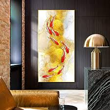 In the above room, you'll see that the bed is up against the wall. Amazon Com Huazai Canvas Painting Koi Fish Feng Shui Carp Lotus Pond Pictures Canvas Painting Wall Art For Living Room Modern Home Decor No Frame Color W 0331 3 Fiah Size Inch