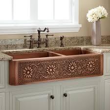 Kitchens With Farmhouse Sinks 42 Sunflower 60 40 Offset Double Bowl Copper Farmhouse Sink Kitchen