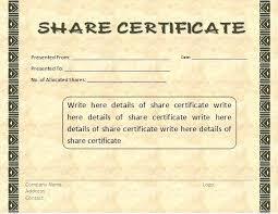 Template Share Certificate Share Certificate Template Word Format Editable Download Corporate