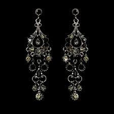 promise antique silver crystal chandelier earrings black