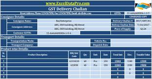 Sample Delivery Note Template Delectable Download GST Delivery Challan Format In Excel For Transportation Of