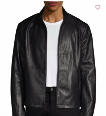 nwt 299 99 saks fifth avenue classic leather jacket in black sz large