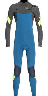 2019 Quiksilver Junior Boys Syncro 4 3mm Chest Zip Wetsuit Marina Jet Black Eqbw103053
