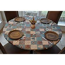 round fitted table covers elastic edged flannel backed vinyl fitted table cover global coffee pattern large