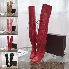 Designer Over The Knee Boots Sale Autumn And Winter Ladies Fashion High Heel Boots Knee Thigh Boots Over The Knee Boots Designer Leather Knee Boot Big Size 35 42with Box Wedge Booties