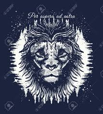 Leo In The Night Forest Tattoo Art Slogan Per Aspera Ad Astra