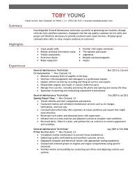Maintenance description for resume