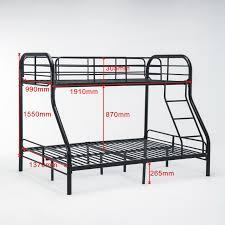 Steel Bedroom Furniture Twin Over Full Metal Bunk Bed Frame Kids Teens Adult Dorm Bedroom