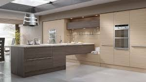 Modern kitchen in a fashionable woograin effect, combining ...