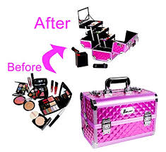 makeup train case 13 x 8 5 x 8 aluminum cosmetic box professional large makeup box organizer with shoulder strap brush holder mirror