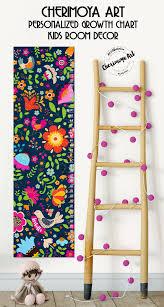 Personalized Nursery Decor Flowers Growth Chart Kids Height