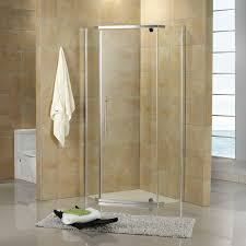 corner shower with neo angle shower glass door and bathroom tile design ideas